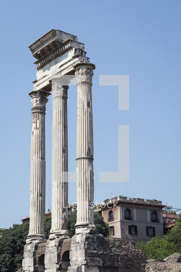 columns at a ruins site in Rome