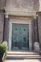 ancient green door in Italy