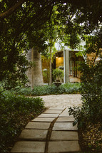 pathway through a background garden