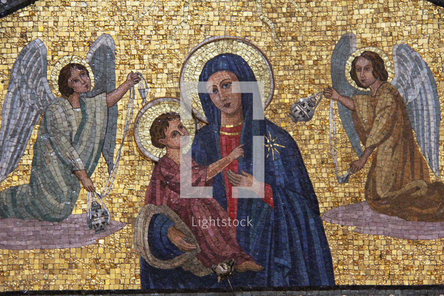 Mosaic tile nativity scene with Mary, Baby Jesus and Angels in adoration