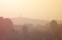 Hazy skyline of Jerusalem.