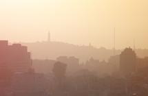 Hazy skyline of Jerusalem.
