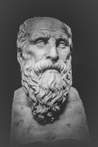 Marble bust sculpture of a bearded man.
