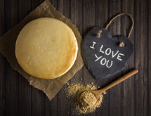 I Love You on slate and cake