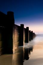 wood sea wall