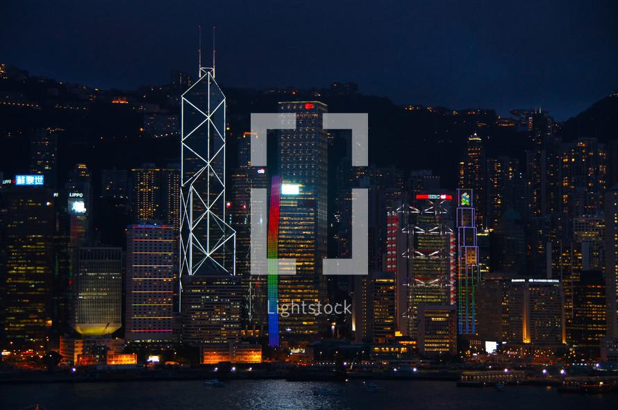 Skyline of Hong Kong across Victoria Bay