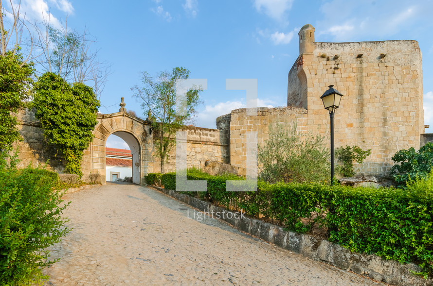 entrance to the castle of Valencia de Alcantara, Caceres, Extremadura, Spain
