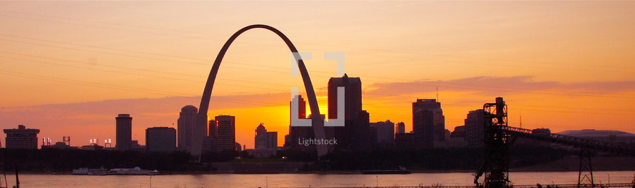 St. Louis skyline at sunset