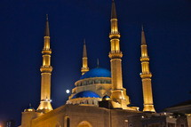 The Blue Mosque, Beirut at night with full moon.