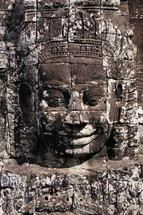 Buddhist sculpture in towers of Bayon temple. Angkor Wat.