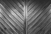 Wood slat doors.