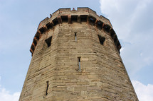 Castle tower. Fortress, stone, stronghold, strength, steadfast.
