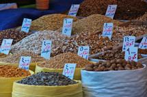seeds, grains, and nuts at a Kurdish market