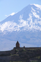 Snow capped Mt. Ararat with Khor Virap Church in foreground