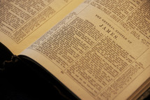 Open Bible in the book of James