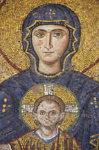 Golden mosaic of Mary the mother of Christ and Jesus