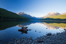 shore, stones, over, lake, water, sunrise, mountains, reflection, nature, outdoors