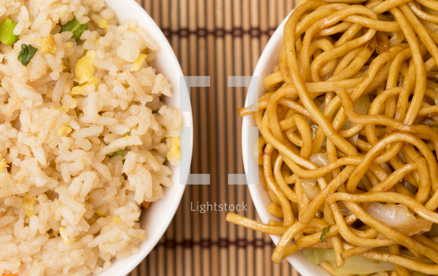 Chow Mein Noodles and rice