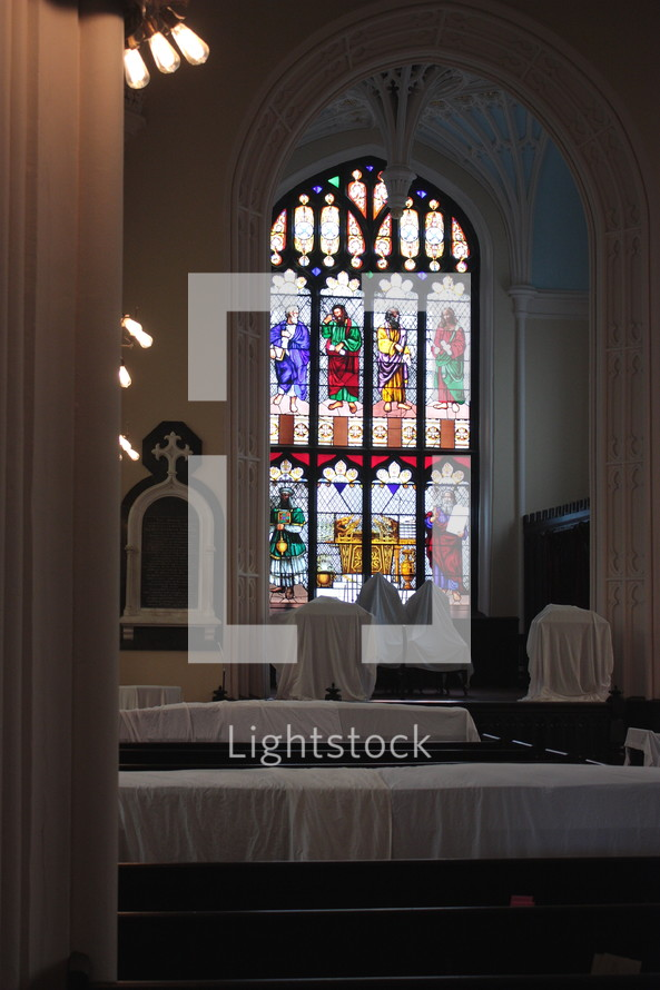 church interior and stained glass windows
