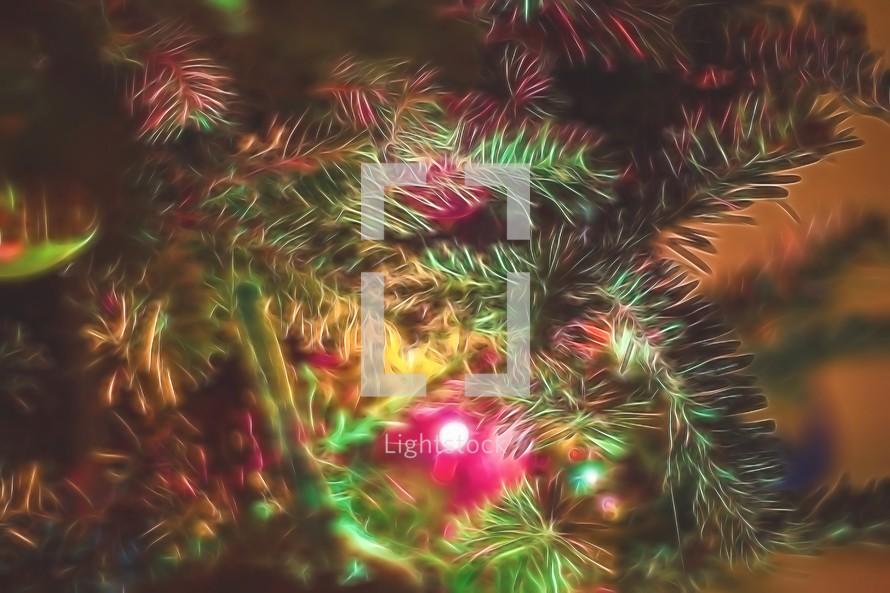 colorful lights on a Christmas tree