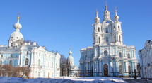 blue and white Smolny cathedral