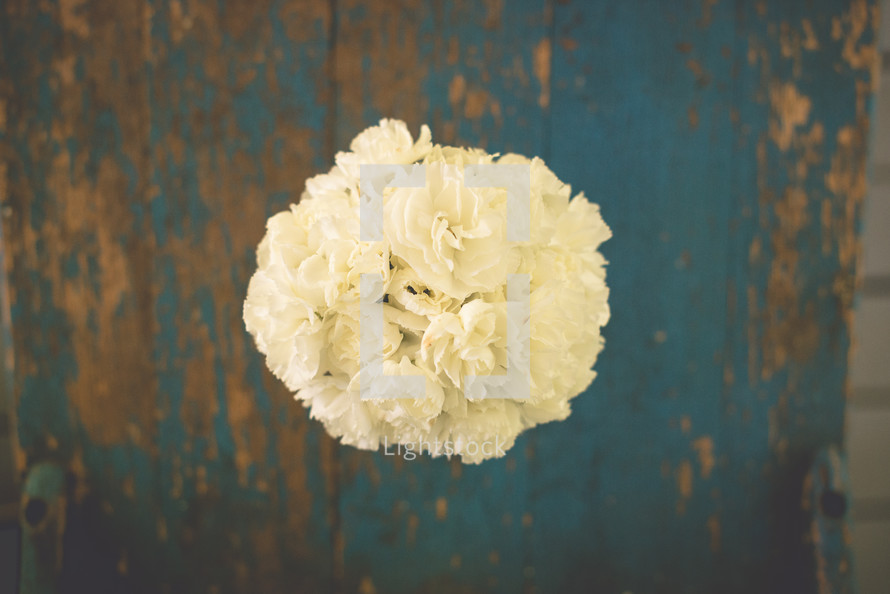 overhead over a bouquet of white carnations
