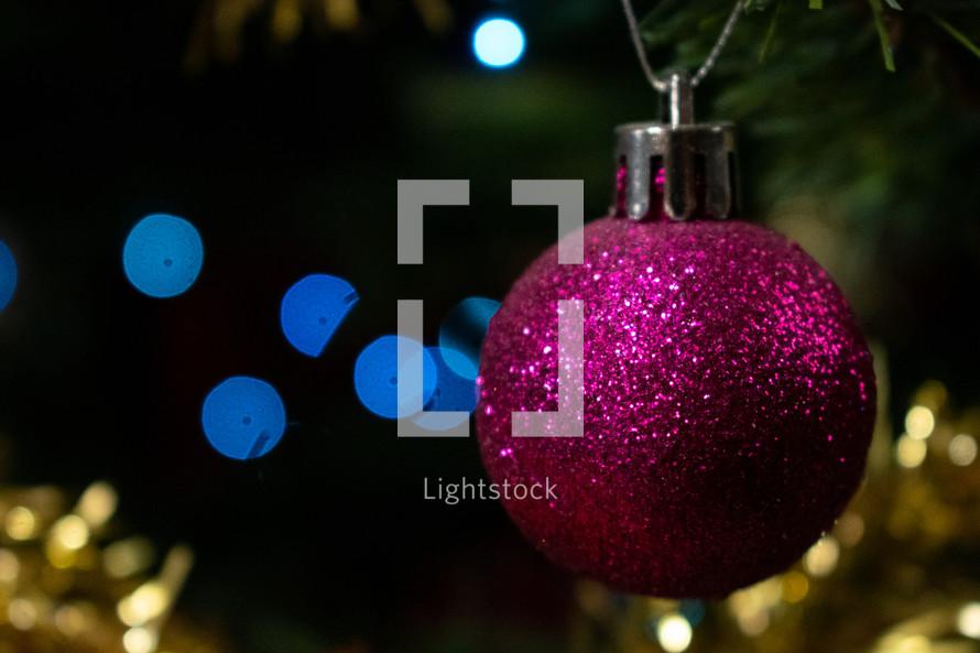 glittery fuchsia Christmas ball ornament