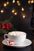 Hot Chocolate and Marshmallows on a Table set for the Holidays