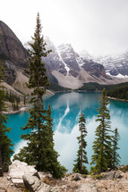 vivid blue lake water surrounded by mountains
