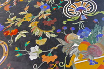 Decorative, inlaid marble and semi precious stone inlaid table