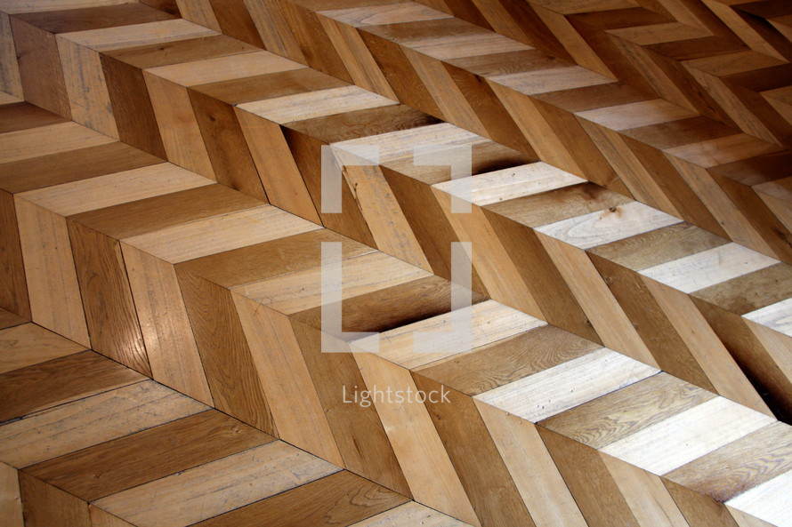 Zig zag patterned antique wooden floor