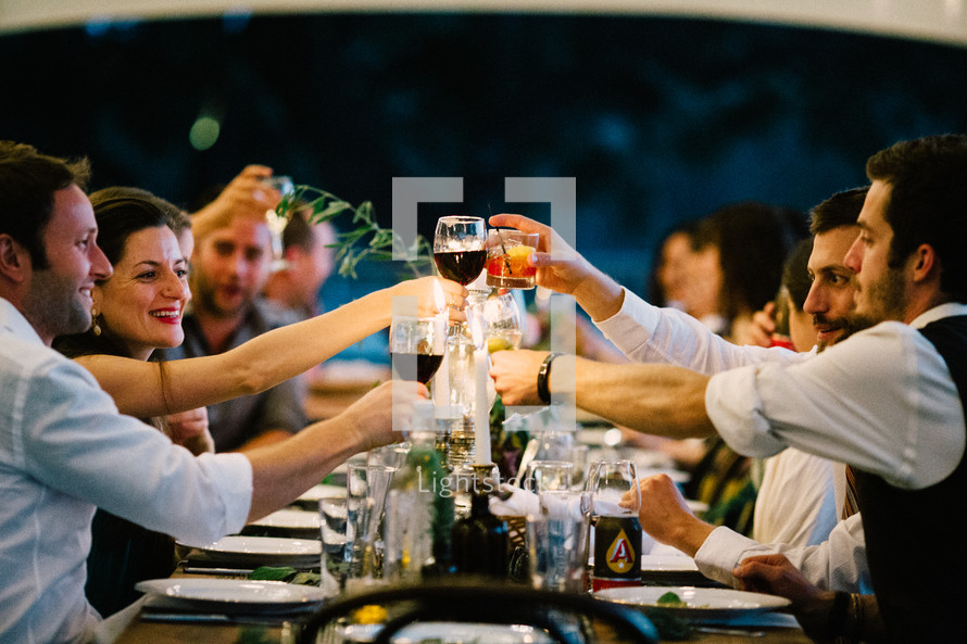 a toast at a wedding reception