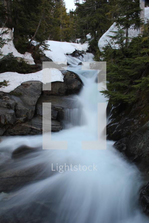 flowing water in a stream at winter
