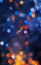 blue and orange bokeh lights