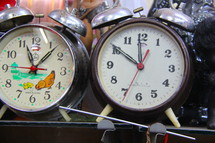 Old fashioned, wind-up, alarm clocks