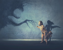 A little girl shows courage and stands up to a shadow monster