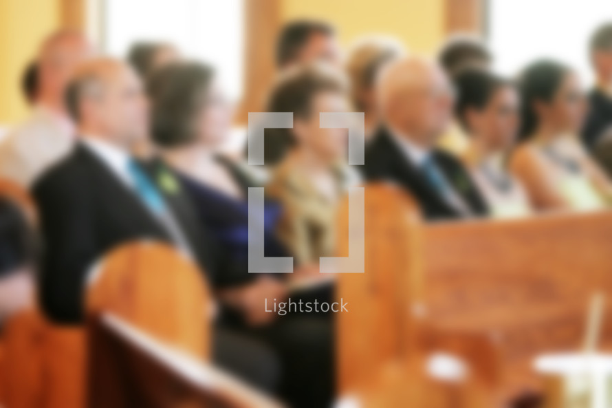 Church Congregation Service Blurred