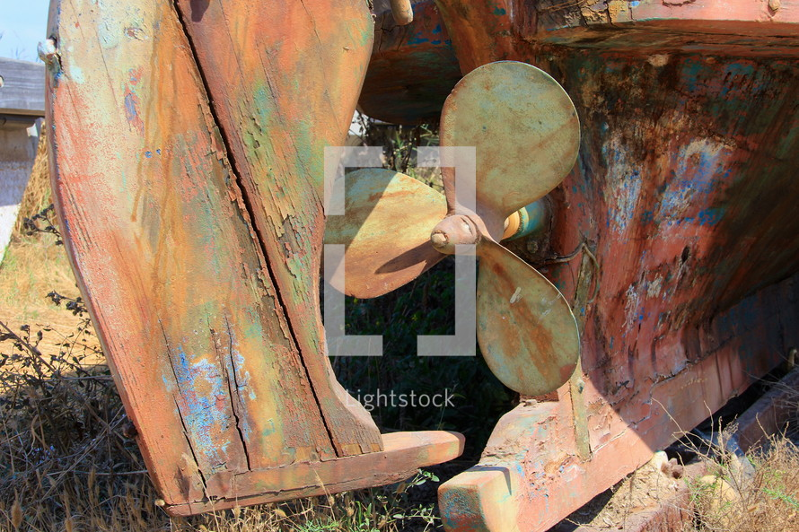 old fishing boat propeller