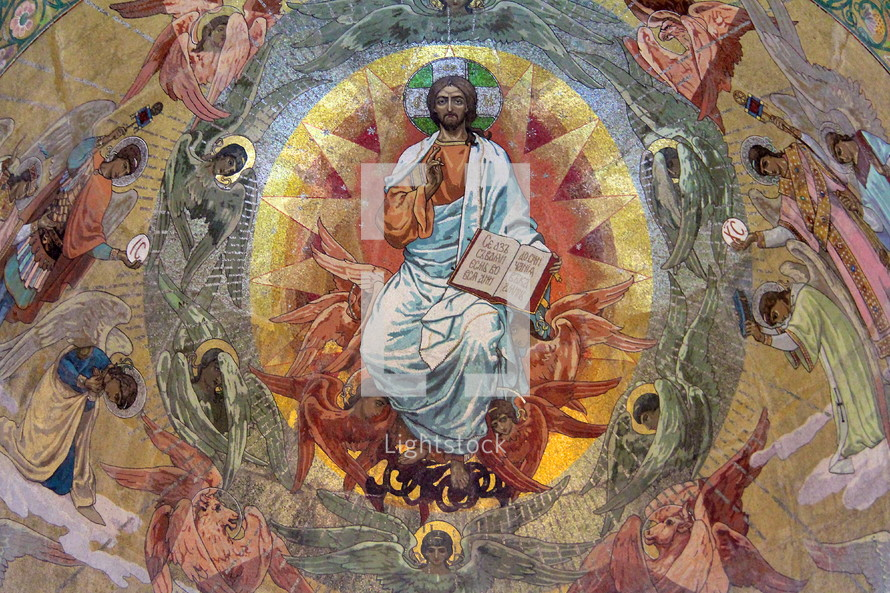 Mosaic of Jesus surrounded by worshiping angels