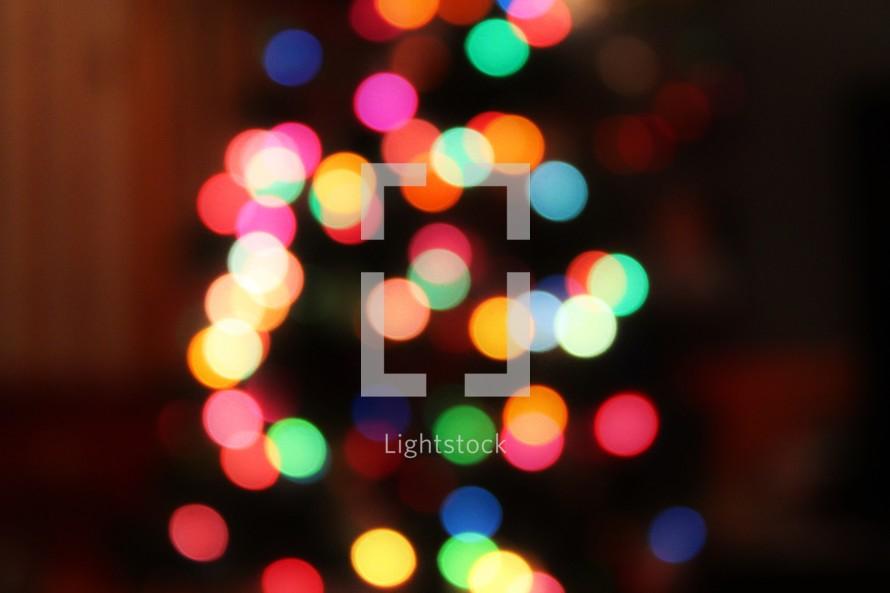 colorful bokeh lights on a Christmas tree