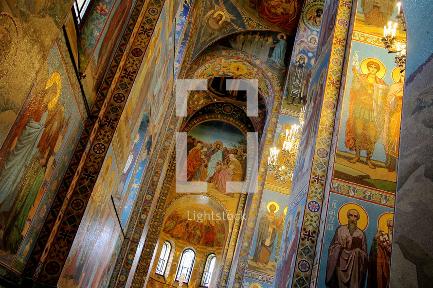 Mosaics on the walls and ceiling of the Spilled Blood Church
