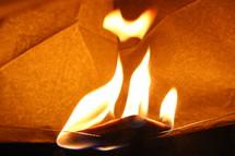 burning paper lantern