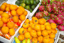Bright colored fruit at a Vietnamese market