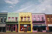 Rainbow row - colorful buildings downtown