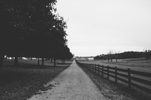 country road and fence line