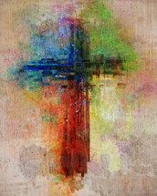 abstract cross on wood