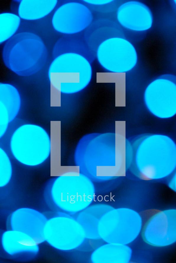 Beautiful blue bokeh Christmas lights