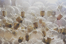 large pile of lightbulbs