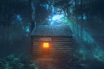 a glowing light in a cabin