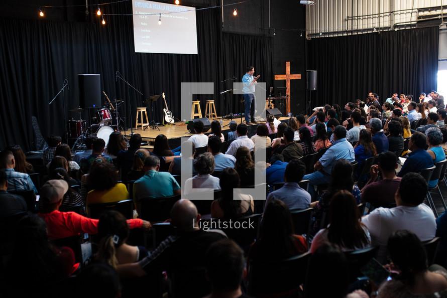 preacher during a worship service